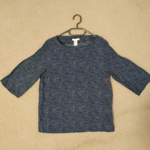 Navy Mid-sleeve Blouse